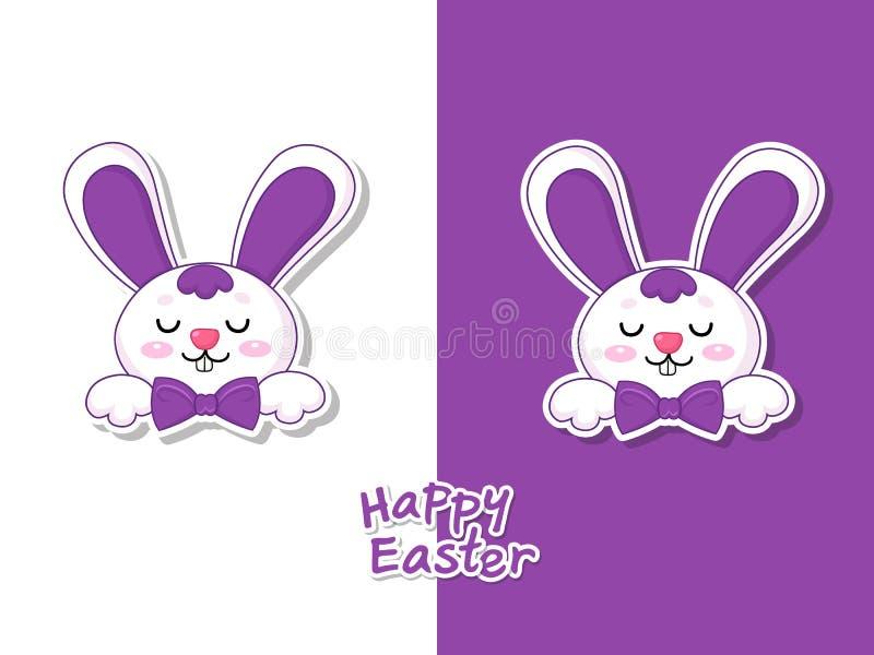 Kleurrijke Gelukkige Pasen-groetkaart met leuk beeldverhaalkonijntje Vectorillustratie decoratief element op Pasen-Dag royalty-vrije illustratie