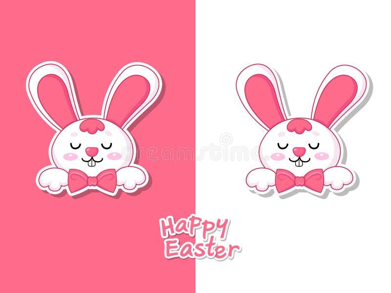 Kleurrijke Gelukkige Pasen-groetkaart met leuk beeldverhaalkonijntje Vectorillustratie decoratief element op Pasen-Dag stock illustratie
