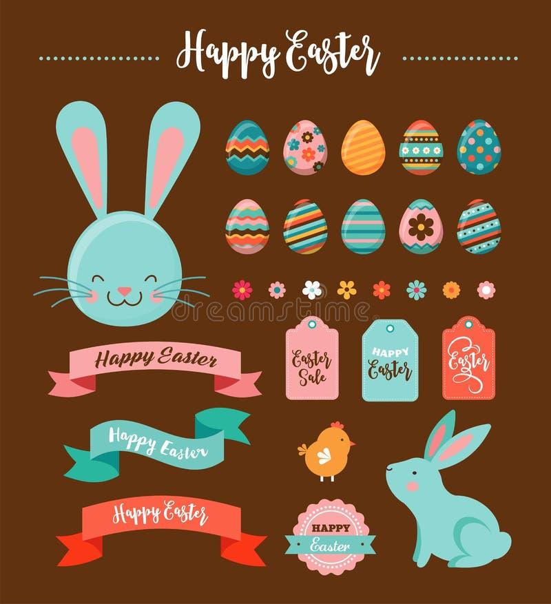 Kleurrijke Gelukkige Pasen-inzameling van pictogrammen met konijn, konijntje, eieren en banners vector illustratie