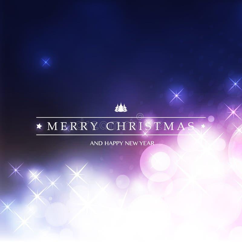 Kleurrijke Gelukkige Vakantie, Vrolijke Kerstmis en de Kaart van de Nieuwjaargroet met Etiket op een Fonkelende Vage Achtergrond stock illustratie