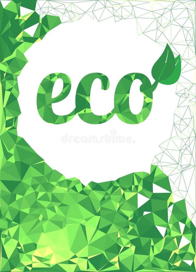 Kleurrijke geometrische groene driehoekige achtergrond Ecologisch Symbool royalty-vrije stock afbeelding