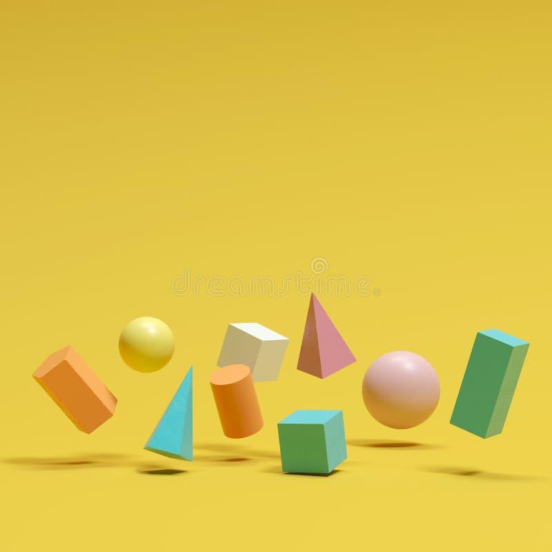 Kleurrijke geometrische vormen geplaatst drijvend op gele achtergrond stock illustratie
