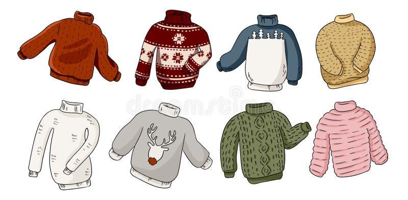 Kleurrijke geplaatste de stickerkrabbels van Hipster hygge sweaters stock illustratie