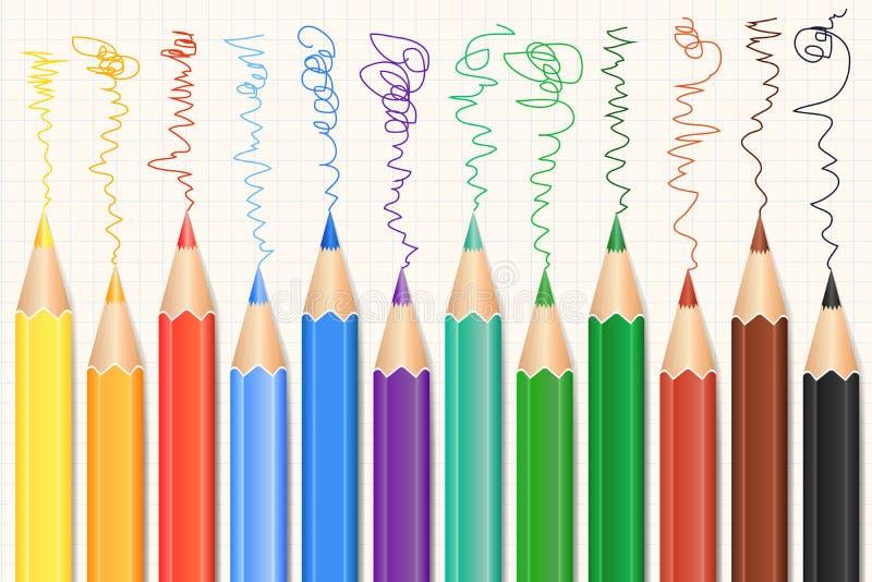 Kleurrijke geplaatste Kleurpotloden Realistische Potloden Vector stock illustratie