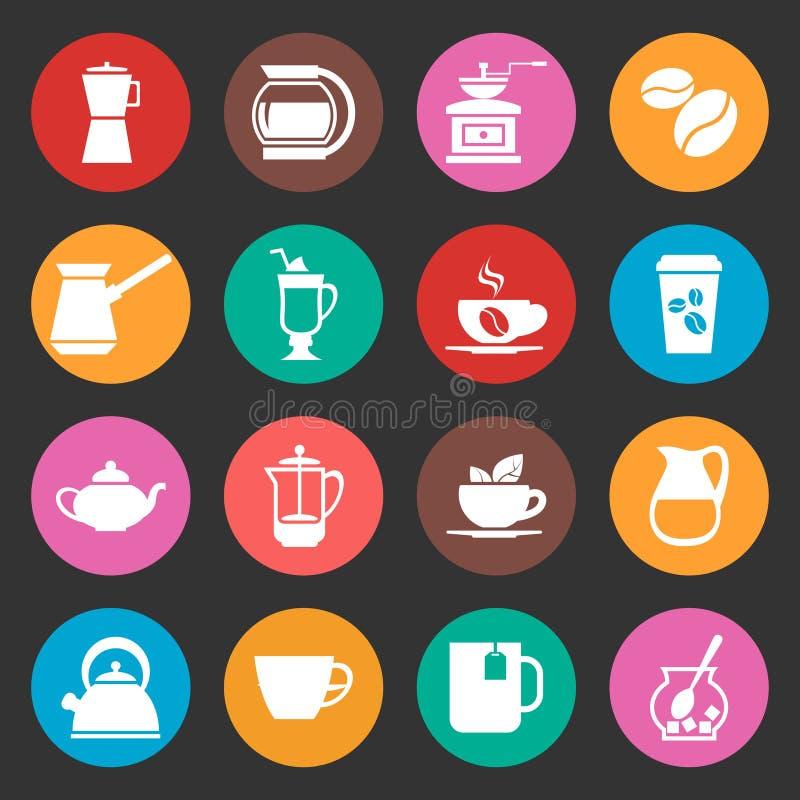 Kleurrijke geplaatste koffie vectorpictogrammen royalty-vrije illustratie