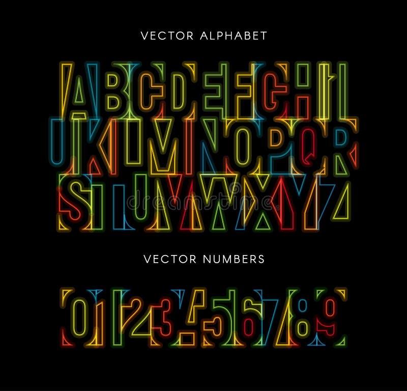 Kleurrijke geplaatste letters en getallen Gekleurd vector Latijns alfabet De doopvont van de regenboogkleur Geometrische neon glo vector illustratie