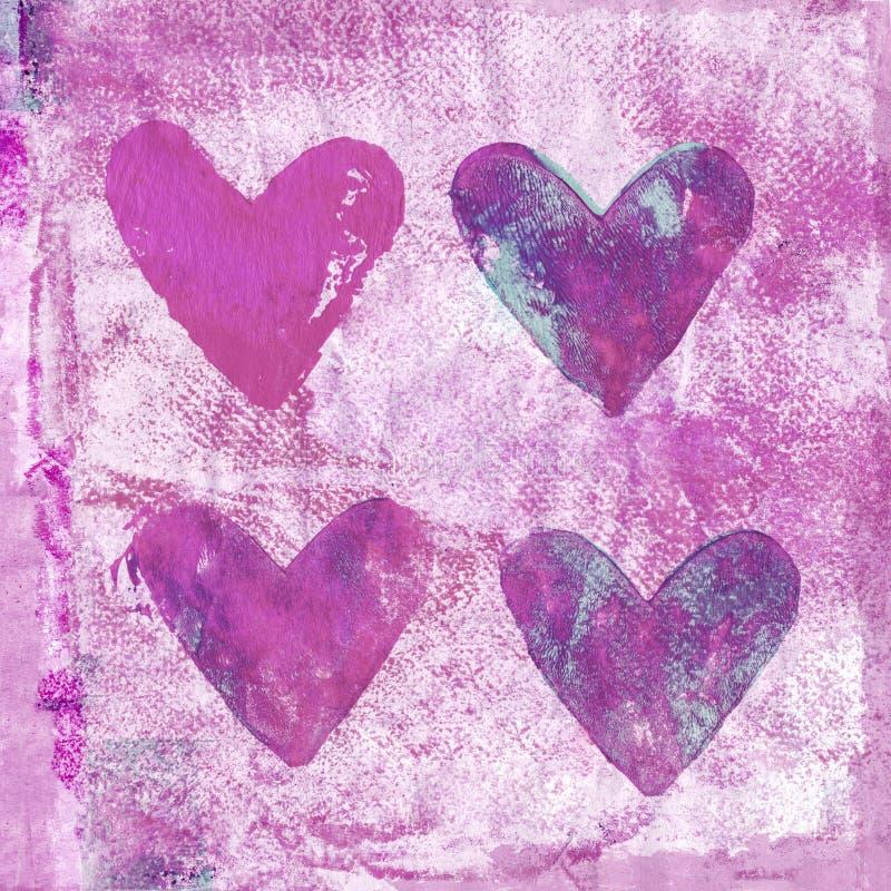 Kleurrijke Geschilderde Roze Hartachtergrond vector illustratie