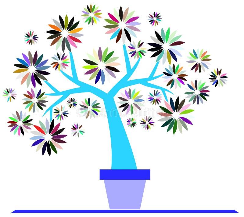 Kleurrijke Gestileerde geïsoleerde boom stock illustratie
