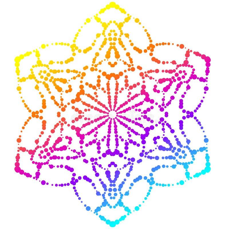 Kleurrijke gestippelde mandala Gradiënt bloemen decoratief element Sier ronde krabbelbloem die op witte achtergrond wordt geïsole stock illustratie
