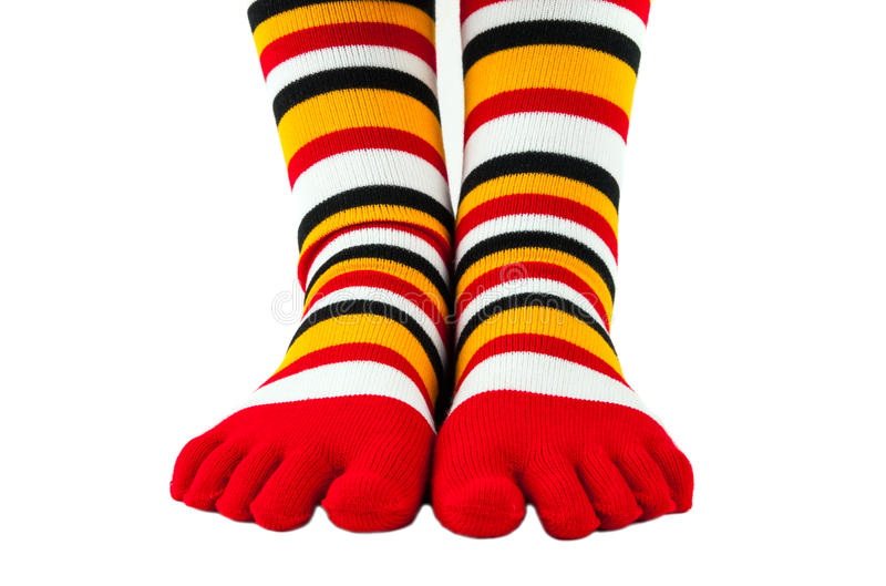 Kleurrijke gestreepte geïsoleerde sokken royalty-vrije stock foto's