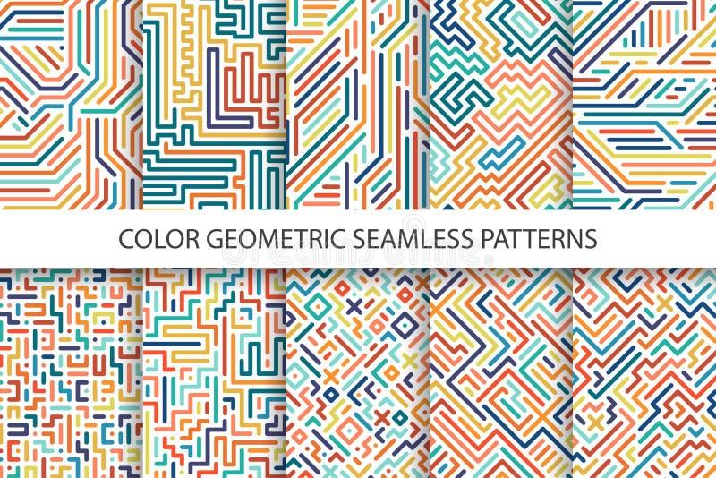 Kleurrijke gestreepte naadloze vectorpatronen - digitaal veelkleurig ontwerp stock illustratie