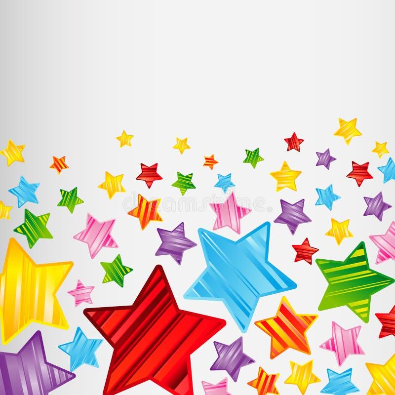 Kleurrijke gestreepte sterrenachtergrond, abstract vectorontwerppatroon, heldere elementen vector illustratie