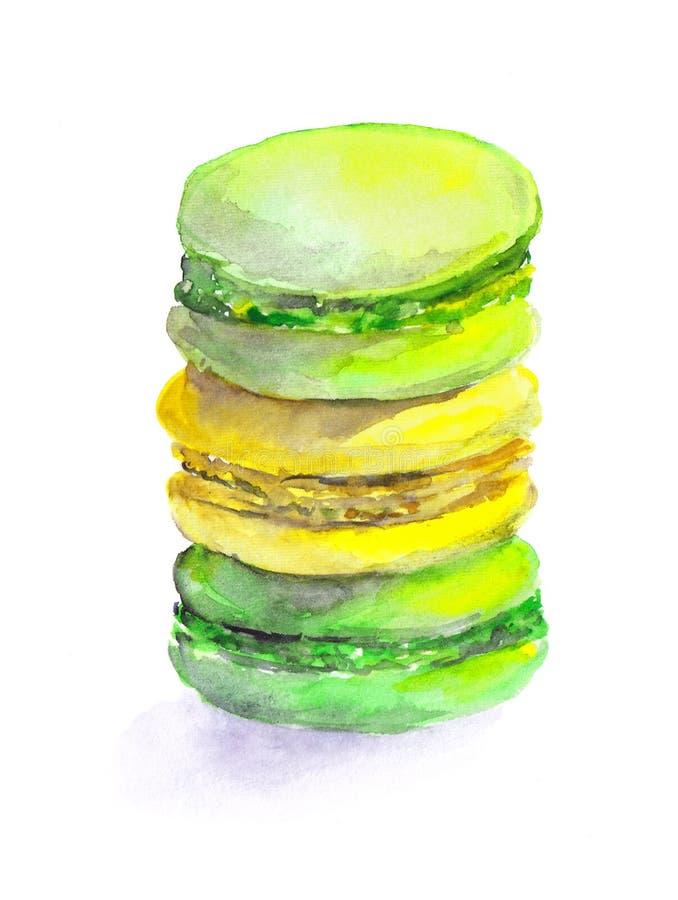Kleurrijke getrokken koekjes - makarons stock illustratie