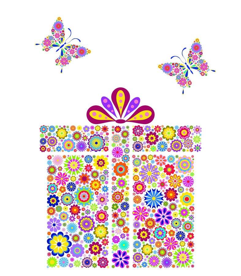 Kleurrijke giftdoos op witte achtergrond royalty-vrije illustratie