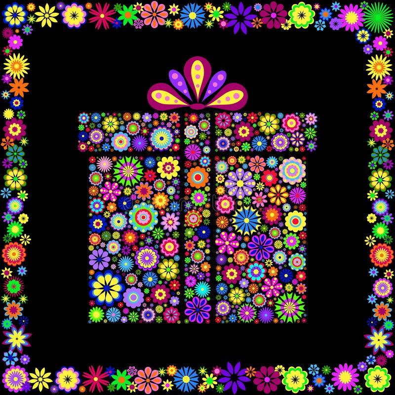 Kleurrijke giftdoos op zwarte achtergrond stock illustratie