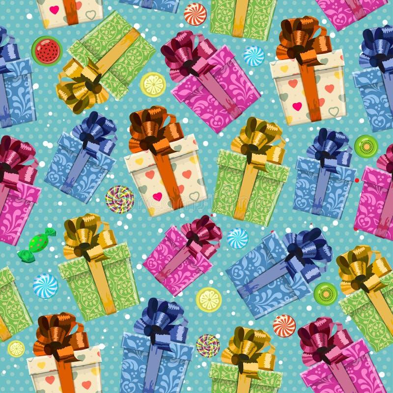 Kleurrijke giftdozen Naadloos patroon voor vakantie Kerstmisontwerp De achtergrond van Kerstmis vector illustratie