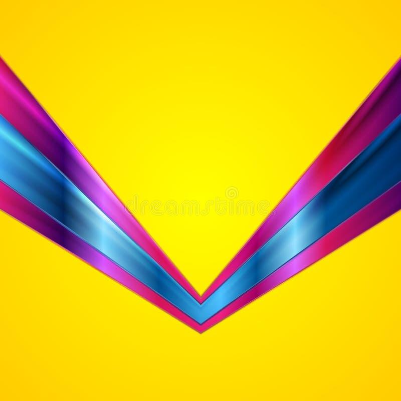 Kleurrijke glanzende technologie-pijlen op gele achtergrond royalty-vrije illustratie