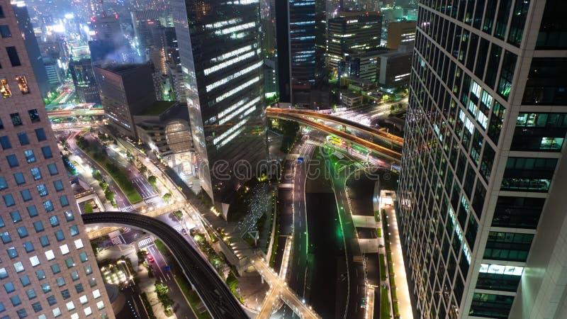 Een nachtmening van centraal Tokyo stock fotografie