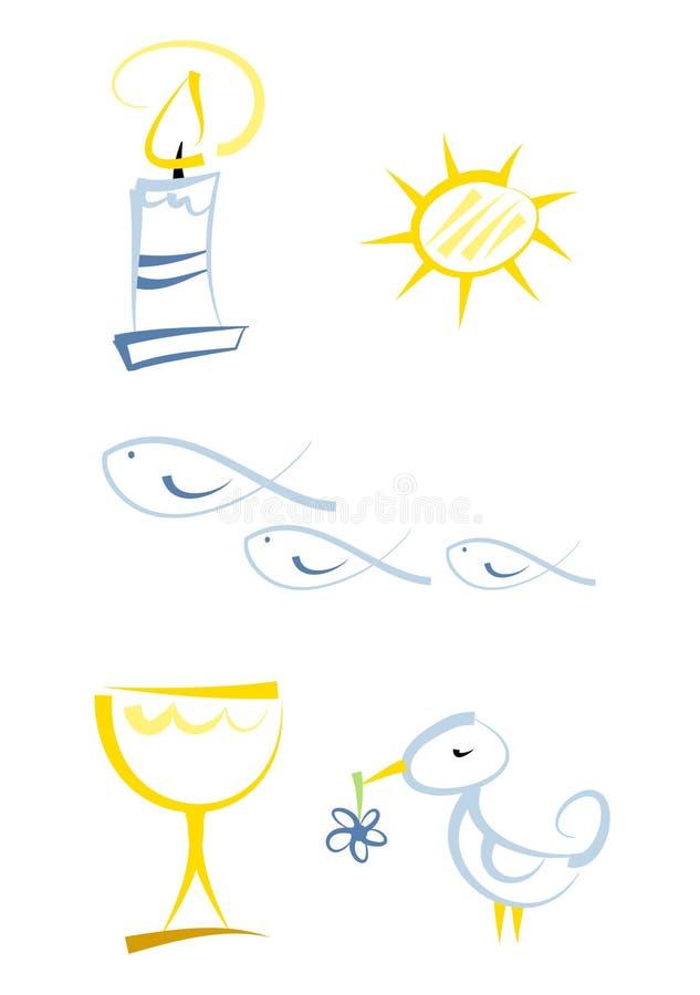 Kleurrijke godsdienstige symboolreeks stock illustratie