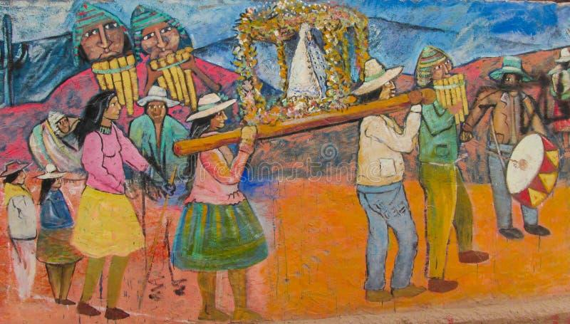 Kleurrijke graffity van inheemse Amerikanen royalty-vrije stock foto