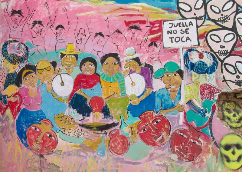 Kleurrijke graffity van inheemse Amerikanen royalty-vrije stock foto's