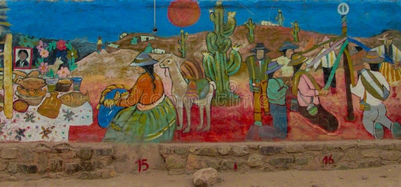 Kleurrijke graffity van inheemse Amerikanen stock foto