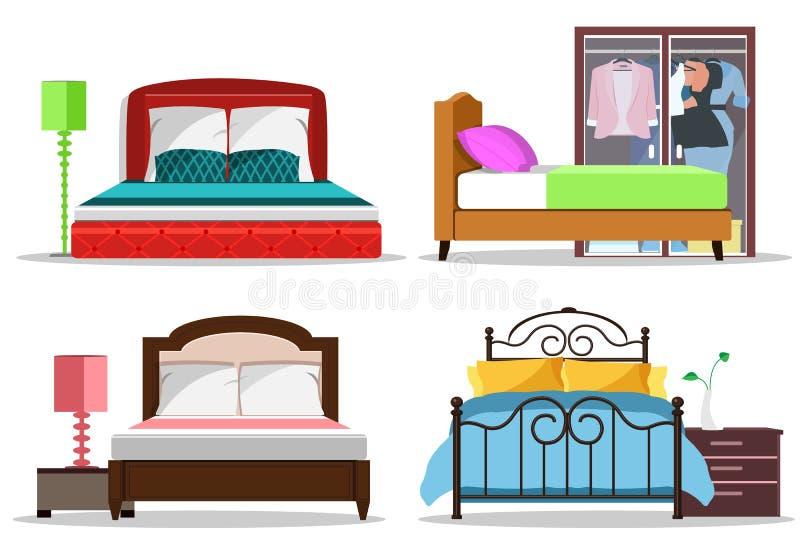 Kleurrijke grafische reeks bedden met hoofdkussens en dekens Modern slaapkamermeubilair stock illustratie