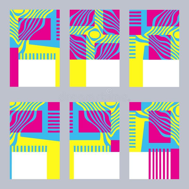 Kleurrijke grafische reeks kaartmalplaatjes met gestileerde geel, blu royalty-vrije illustratie