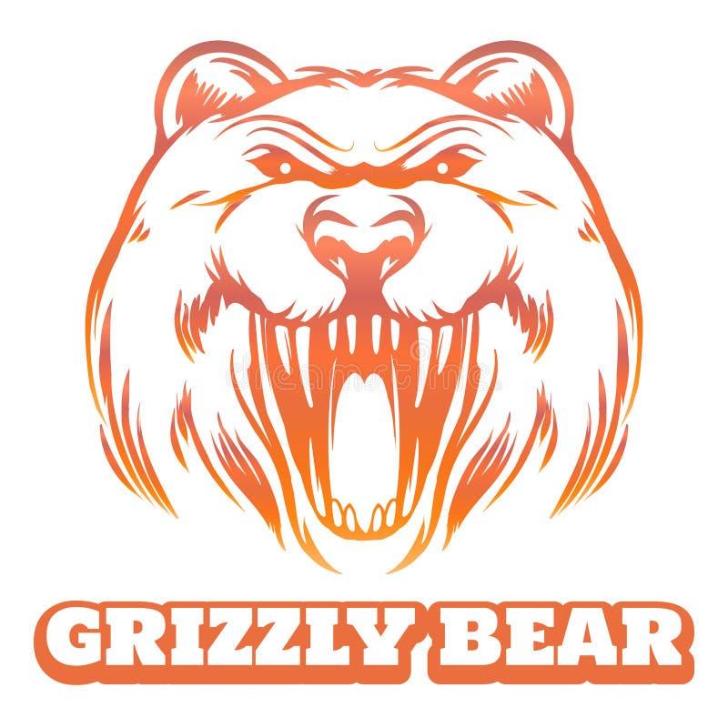 Kleurrijke grizzlyschets vector illustratie