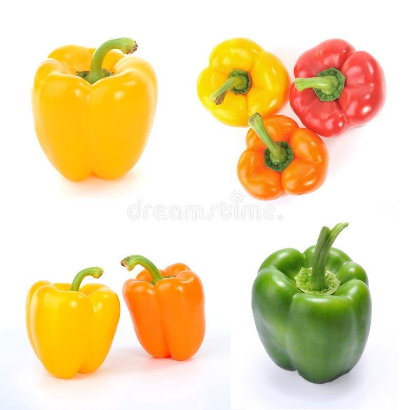 Kleurrijke Groene paprika'scollage royalty-vrije stock foto's