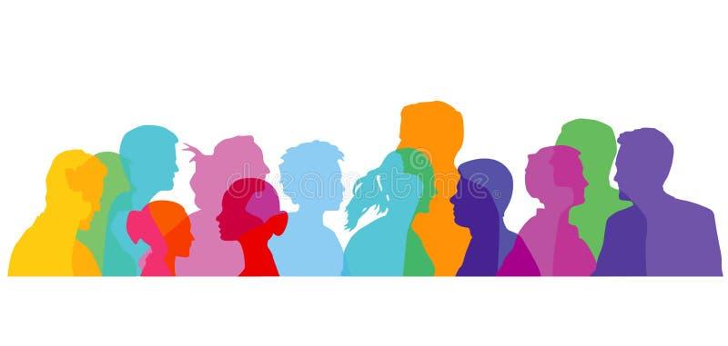 Kleurrijke groep mensen royalty-vrije illustratie