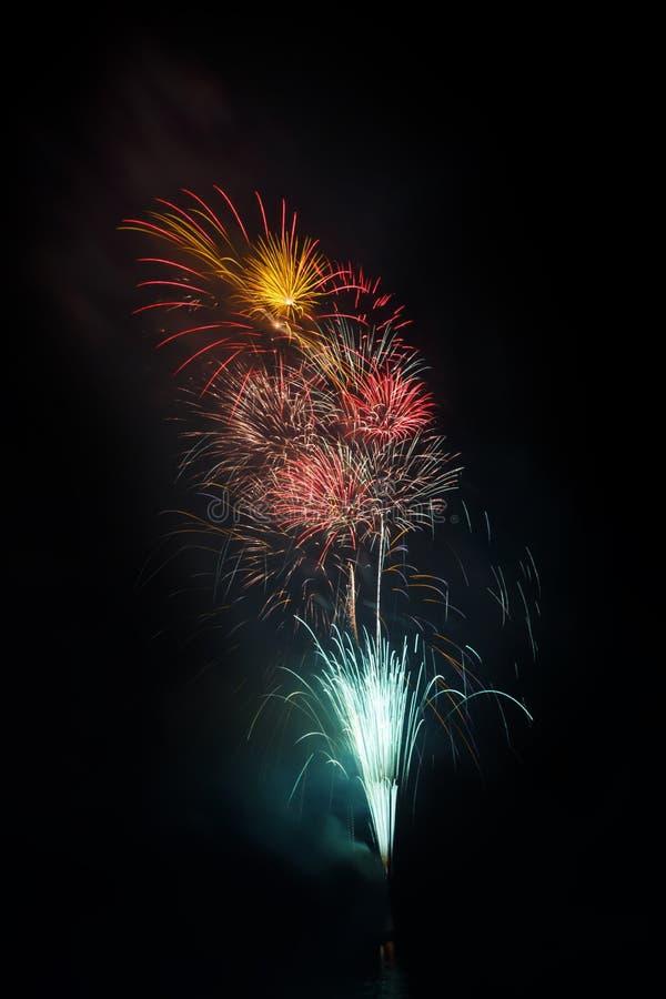 Kleurrijke groep vuurwerk voor viering stock afbeelding