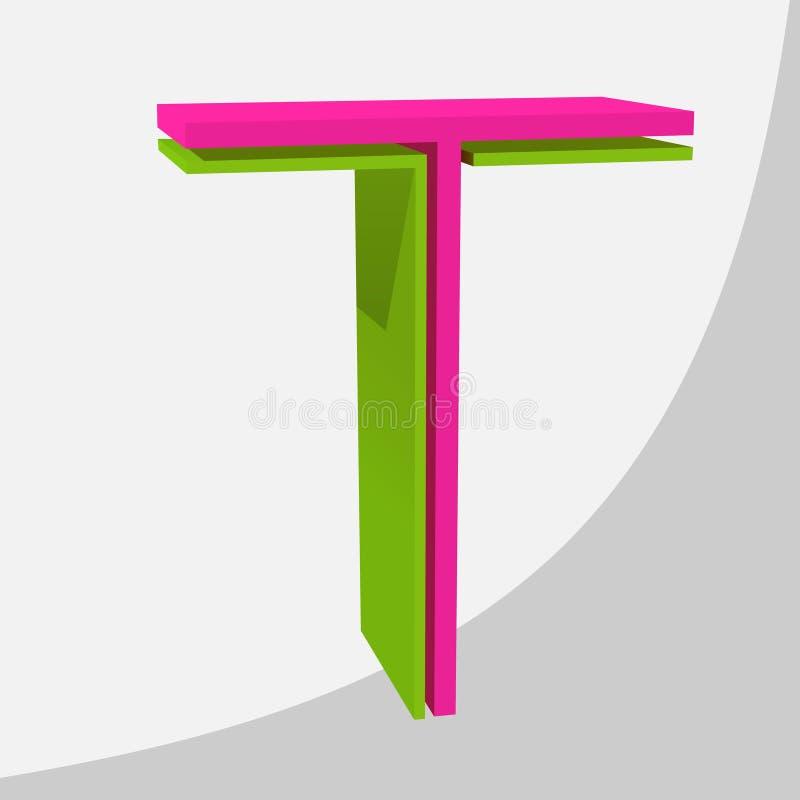 Kleurrijke grote 3D brief In vectorillustratie stock afbeeldingen