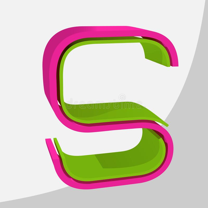 Kleurrijke grote 3D brief In vectorillustratie stock afbeelding