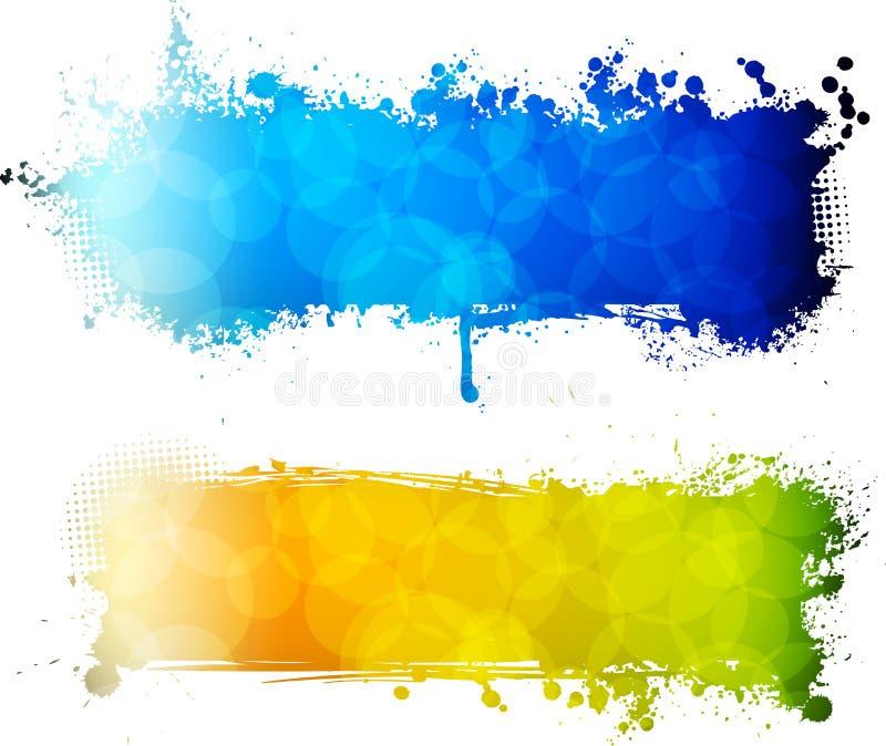 Download Kleurrijke Grunge Twee Banners Vector Illustratie - Illustratie bestaande uit vloeistof, cirkels: 39102838
