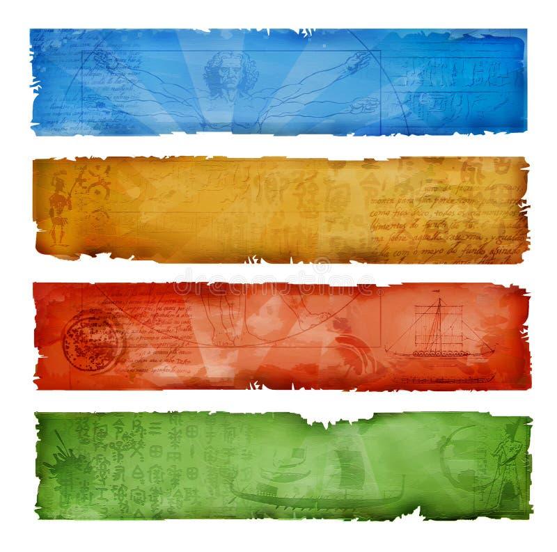 Kleurrijke grungebanners stock illustratie