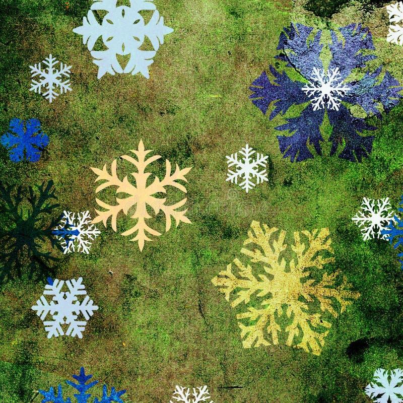 Kleurrijke grungesneeuwvlokken vector illustratie