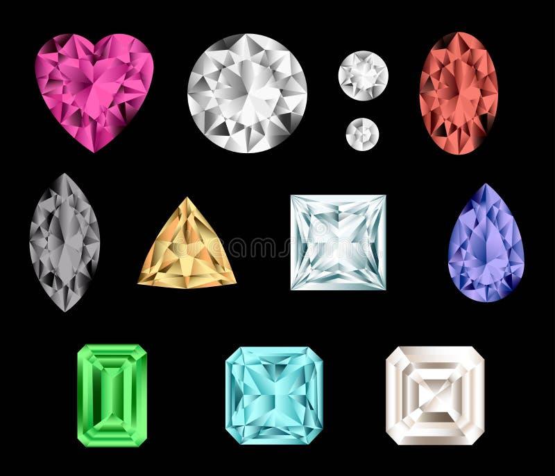 Kleurrijke halfedelstenen. royalty-vrije illustratie