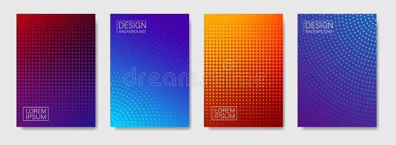 Kleurrijke halftone vormendekking van pagina-indelingenontwerp Minimale moderne ontwerpdekking met gradiënten Vector dynamisch af vector illustratie