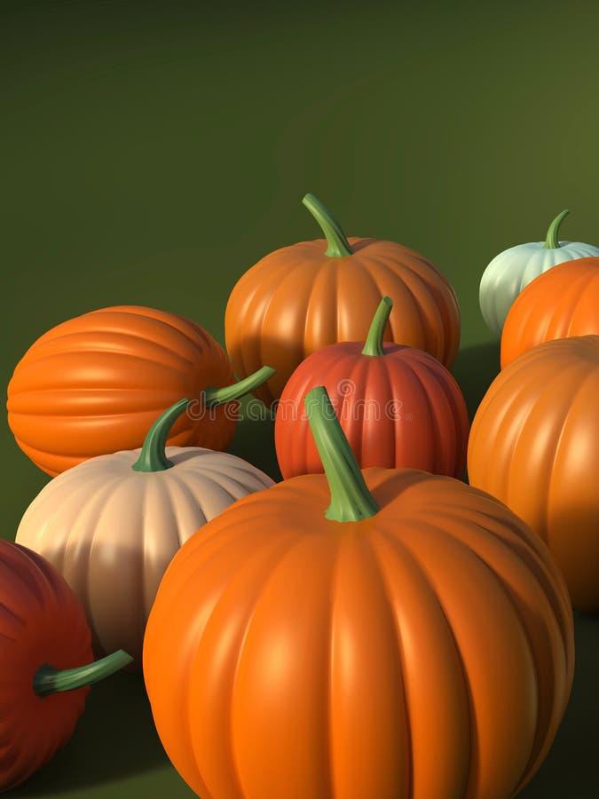 Kleurrijke Halloween-pompoenen, 3D illustratie vector illustratie
