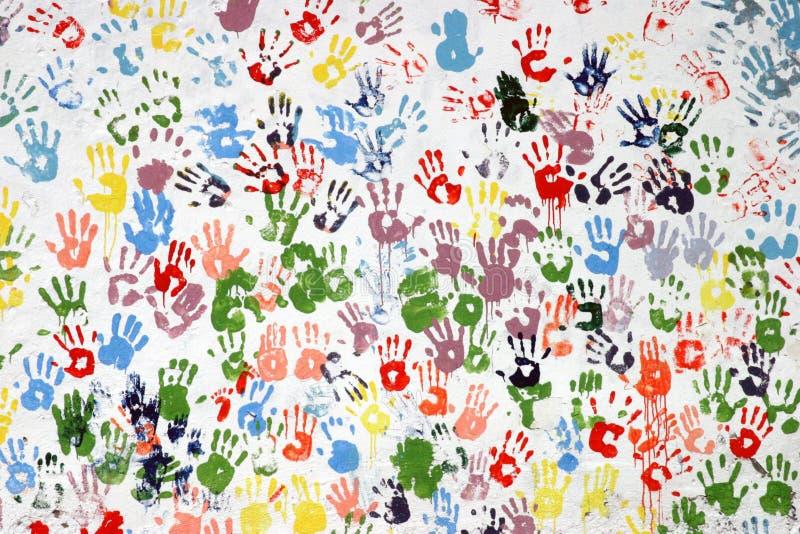 Kleurrijke hand-drukken stock afbeeldingen