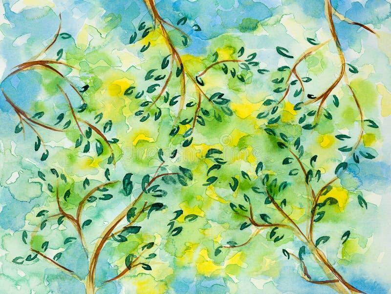 Hand getrokken illustratie van zon achter bomen vector illustratie