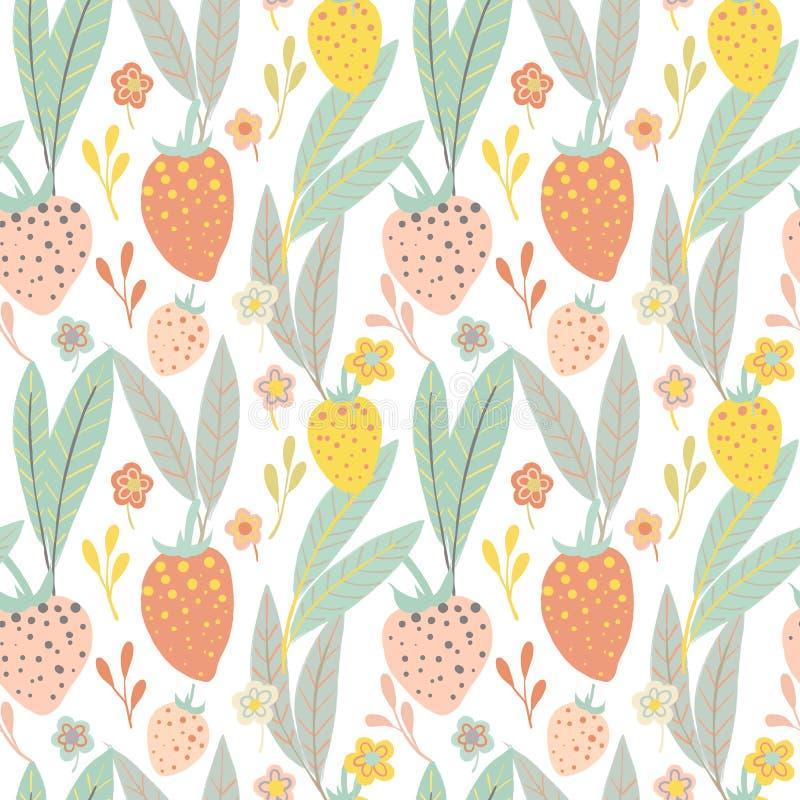 Kleurrijke hand getrokken aardbeien en wild bloemen naadloos patroon vector illustratie