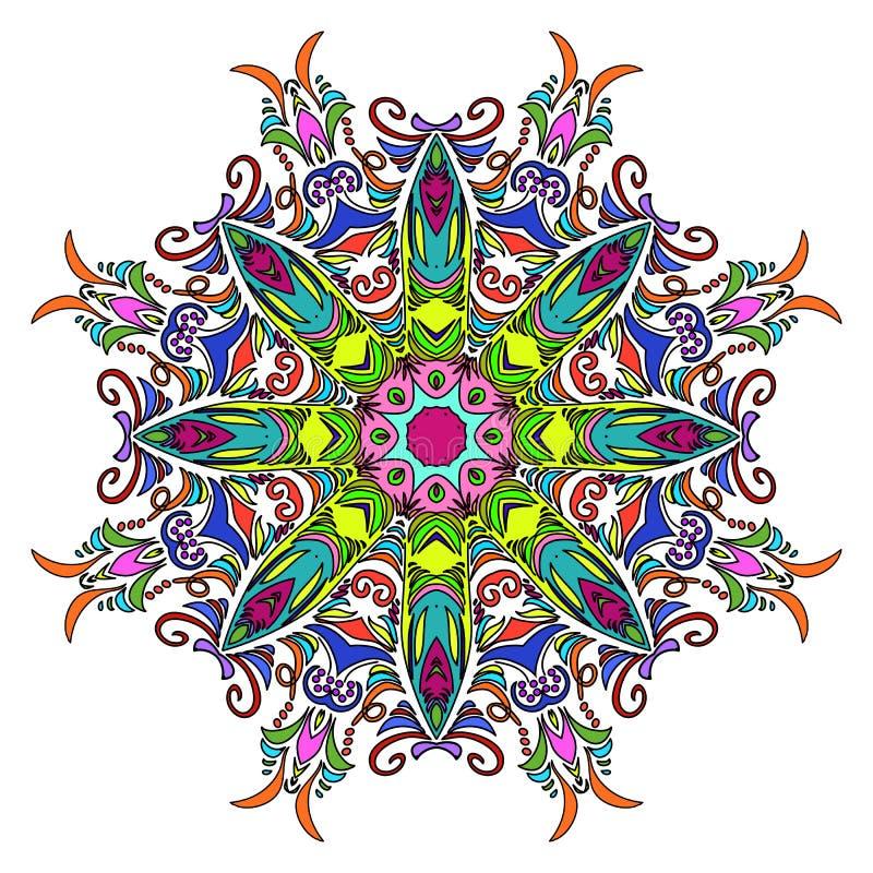 Kleurrijke Hand Getrokken Mandala, Oosters Decoratief Element, Uitstekende Stijl stock illustratie
