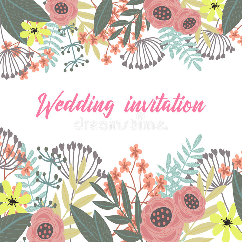 Kleurrijke hand getrokken uitstekende groetkaart met bloemen vector illustratie