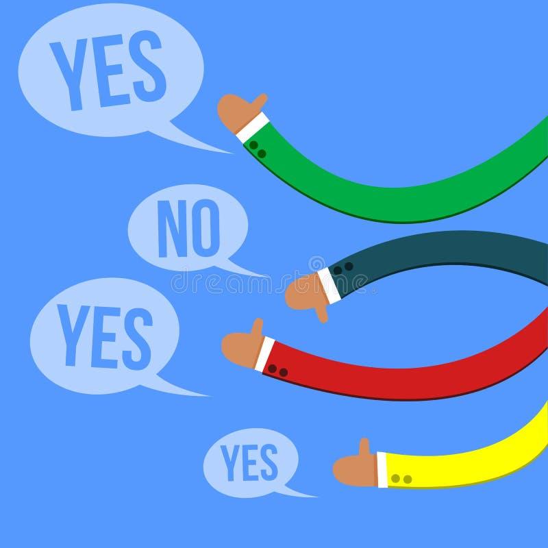 Kleurrijke Handen die Terugkoppeling met Duimen en Toespraakbellen geven vector illustratie