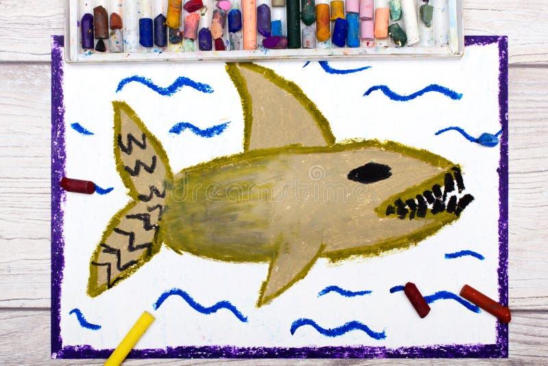 Kleurrijke handtekening: Eng overzees monster, haai royalty-vrije illustratie