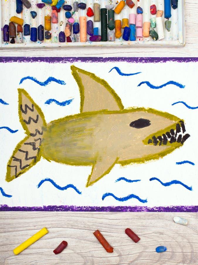 Kleurrijke handtekening: Eng overzees monster, haai vector illustratie