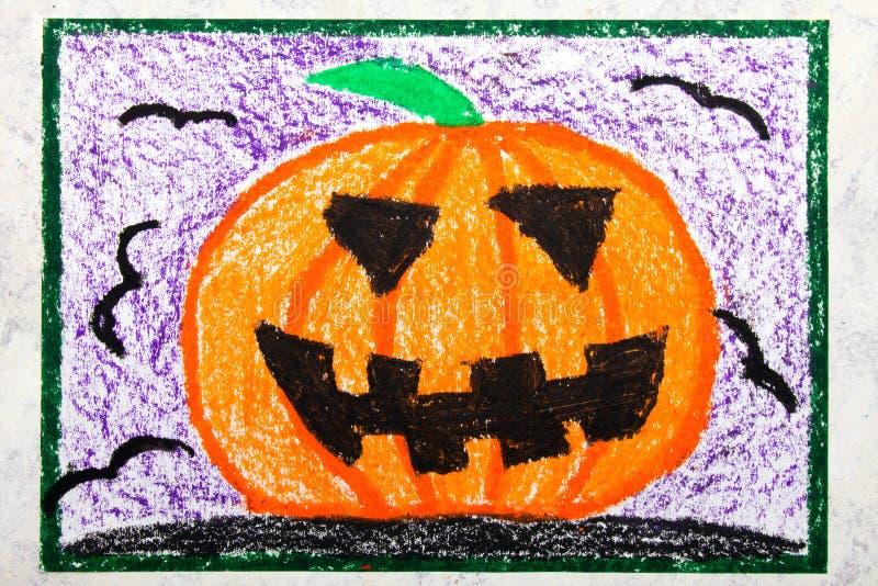 Kleurrijke handtekening: Enge Hallowen-pompoen vector illustratie