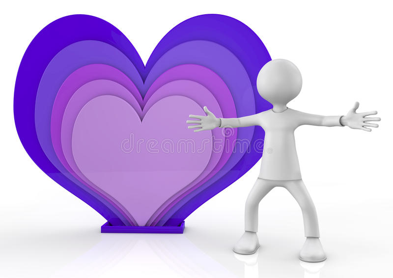 Kleurrijke harten en mens met open wapens stock illustratie